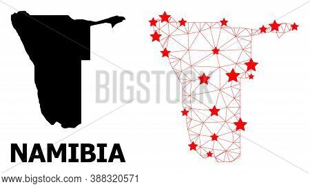 Wire Frame Polygonal And Solid Map Of Namibia. Vector Structure Is Created From Map Of Namibia With