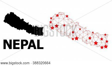 Network Polygonal And Solid Map Of Nepal. Vector Structure Is Created From Map Of Nepal With Red Sta