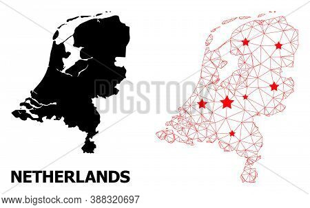 Network Polygonal And Solid Map Of Netherlands. Vector Model Is Created From Map Of Netherlands With
