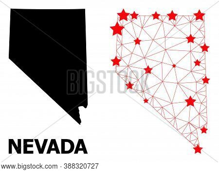 2d Polygonal And Solid Map Of Nevada State. Vector Model Is Created From Map Of Nevada State With Re