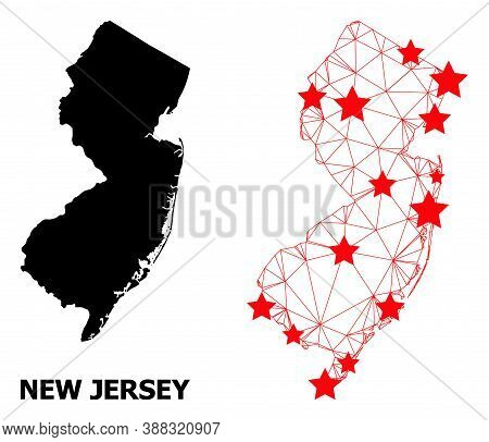 Mesh Polygonal And Solid Map Of New Jersey State. Vector Model Is Created From Map Of New Jersey Sta