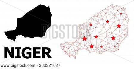 Mesh Polygonal And Solid Map Of Niger. Vector Structure Is Created From Map Of Niger With Red Stars.