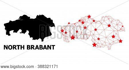 Mesh Polygonal And Solid Map Of North Brabant Province. Vector Structure Is Created From Map Of Nort