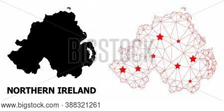 2d Polygonal And Solid Map Of Northern Ireland. Vector Structure Is Created From Map Of Northern Ire