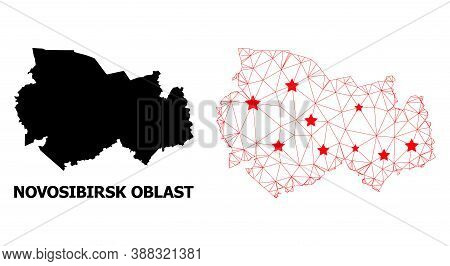 Carcass Polygonal And Solid Map Of Novosibirsk Region. Vector Model Is Created From Map Of Novosibir