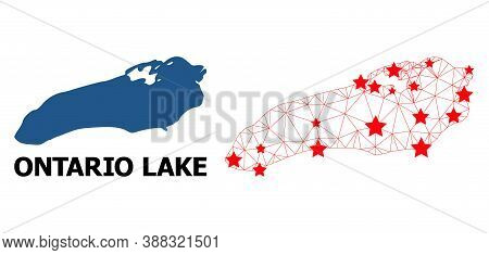 Carcass Polygonal And Solid Map Of Ontario Lake. Vector Model Is Created From Map Of Ontario Lake Wi