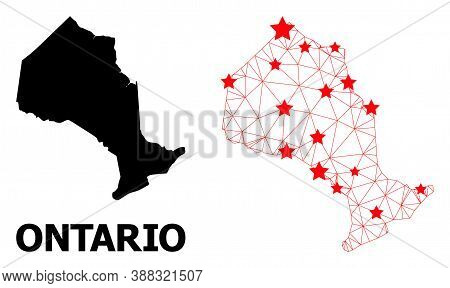Mesh Polygonal And Solid Map Of Ontario Province. Vector Structure Is Created From Map Of Ontario Pr