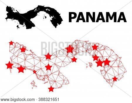 Wire Frame Polygonal And Solid Map Of Panama. Vector Structure Is Created From Map Of Panama With Re