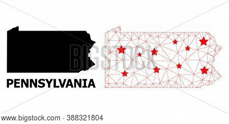 Carcass Polygonal And Solid Map Of Pennsylvania State. Vector Model Is Created From Map Of Pennsylva