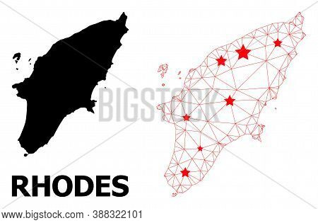 Network Polygonal And Solid Map Of Rhodes Island. Vector Model Is Created From Map Of Rhodes Island