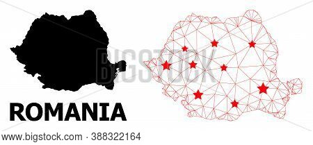 Wire Frame Polygonal And Solid Map Of Romania. Vector Model Is Created From Map Of Romania With Red