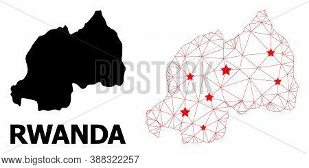 Wire Frame Polygonal And Solid Map Of Rwanda. Vector Model Is Created From Map Of Rwanda With Red St