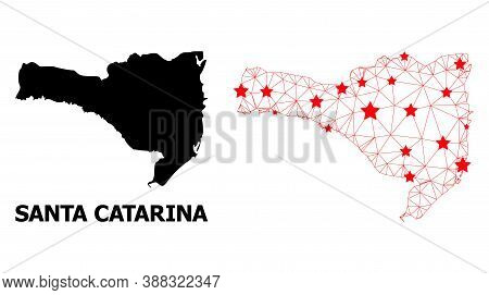 Wire Frame Polygonal And Solid Map Of Santa Catarina State. Vector Model Is Created From Map Of Sant