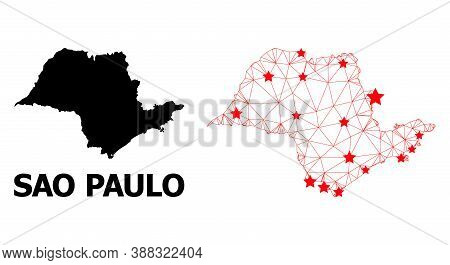 2d Polygonal And Solid Map Of Sao Paulo State. Vector Structure Is Created From Map Of Sao Paulo Sta