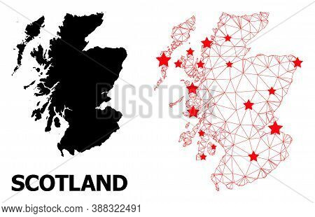 Wire Frame Polygonal And Solid Map Of Scotland. Vector Model Is Created From Map Of Scotland With Re