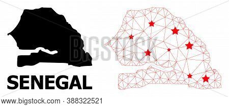 Wire Frame Polygonal And Solid Map Of Senegal. Vector Structure Is Created From Map Of Senegal With