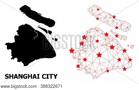 Wire Frame Polygonal And Solid Map Of Shanghai Municipality. Vector Structure Is Created From Map Of