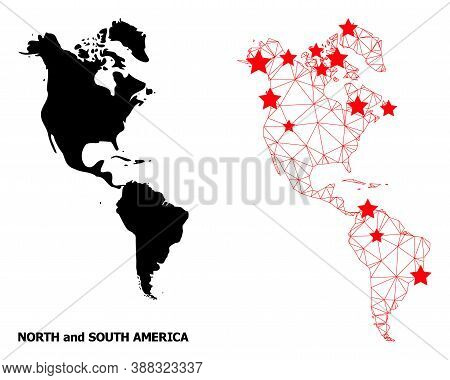 2d Polygonal And Solid Map Of South And North America. Vector Model Is Created From Map Of South And