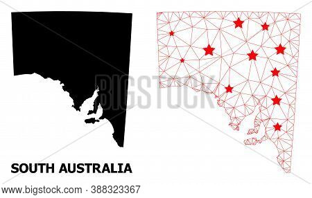Wire Frame Polygonal And Solid Map Of South Australia. Vector Structure Is Created From Map Of South
