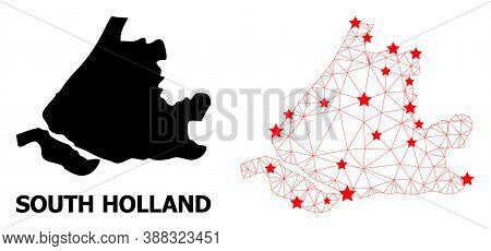 Carcass Polygonal And Solid Map Of South Holland. Vector Model Is Created From Map Of South Holland