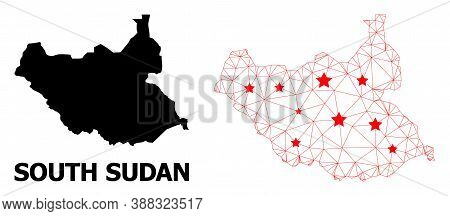 Wire Frame Polygonal And Solid Map Of South Sudan. Vector Model Is Created From Map Of South Sudan W