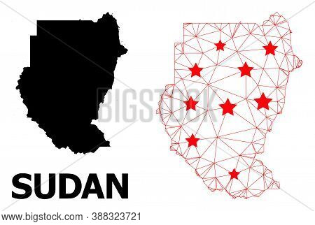 Mesh Polygonal And Solid Map Of Sudan. Vector Model Is Created From Map Of Sudan With Red Stars. Abs