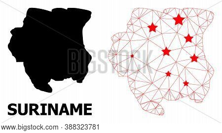 2d Polygonal And Solid Map Of Suriname. Vector Structure Is Created From Map Of Suriname With Red St