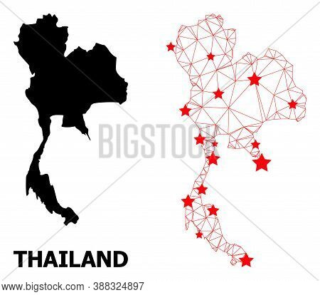 Network Polygonal And Solid Map Of Thailand. Vector Model Is Created From Map Of Thailand With Red S