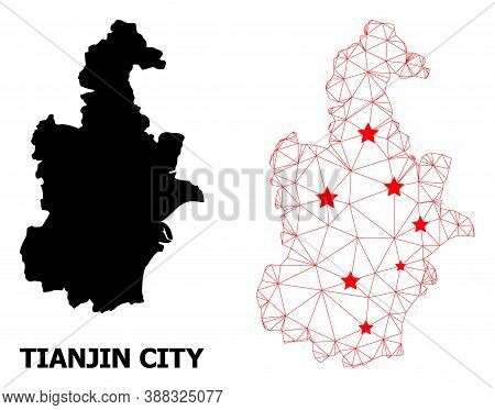 Wire Frame Polygonal And Solid Map Of Tianjin Municipality. Vector Model Is Created From Map Of Tian