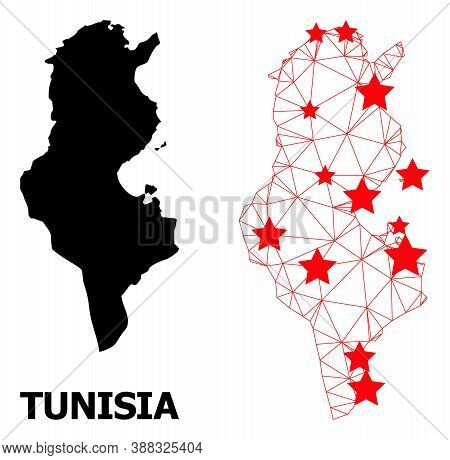 Carcass Polygonal And Solid Map Of Tunisia. Vector Model Is Created From Map Of Tunisia With Red Sta