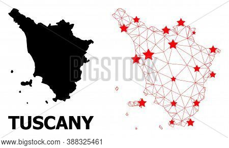 Network Polygonal And Solid Map Of Tuscany Region. Vector Model Is Created From Map Of Tuscany Regio
