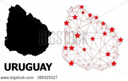Carcass Polygonal And Solid Map Of Uruguay. Vector Structure Is Created From Map Of Uruguay With Red