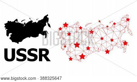 Wire Frame Polygonal And Solid Map Of Ussr. Vector Structure Is Created From Map Of Ussr With Red St