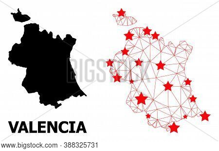 Mesh Polygonal And Solid Map Of Valencia Province. Vector Model Is Created From Map Of Valencia Prov
