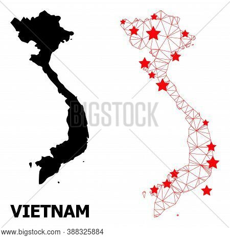 Mesh Polygonal And Solid Map Of Vietnam. Vector Structure Is Created From Map Of Vietnam With Red St
