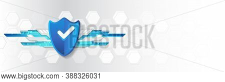 Cyber Security For Business And Internet Project. Vector Illustration Of A Data Security Services. D
