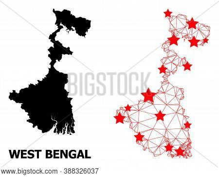 Wire Frame Polygonal And Solid Map Of West Bengal State. Vector Structure Is Created From Map Of Wes