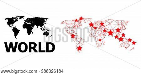 Carcass Polygonal And Solid Map Of World. Vector Structure Is Created From Map Of World With Red Sta