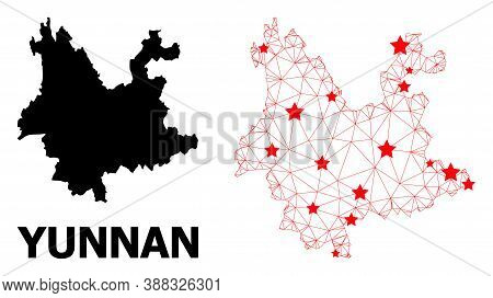 Carcass Polygonal And Solid Map Of Yunnan Province. Vector Structure Is Created From Map Of Yunnan P