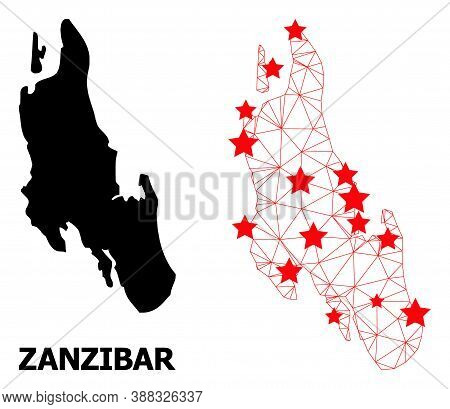 Network Polygonal And Solid Map Of Zanzibar Island. Vector Structure Is Created From Map Of Zanzibar