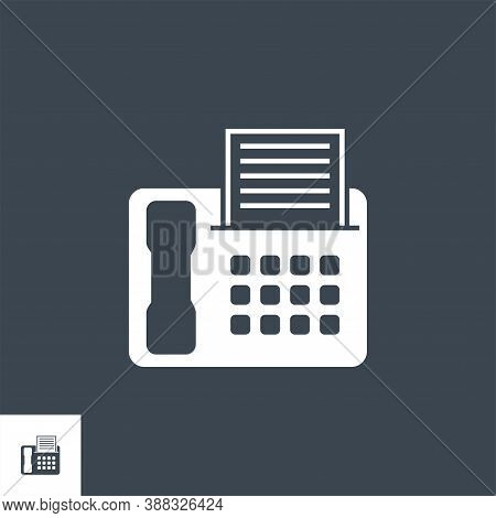 Fax Related Vector Glyph Icon. Isolated On Black Background. Vector Illustration.