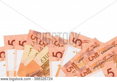 5 Belorussian Rubles Bills Lies On Bottom Side Of Screen Isolated On White Background With Copy Spac