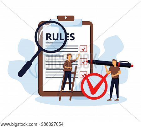Rules Vector Illustration. Flat Tiny Regulations Checklist Persons Concept. Restricted Graphic Writi