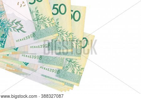 50 Belorussian Rubles Bills Lies In Small Bunch Or Pack Isolated On White. Mockup With Copy Space. B