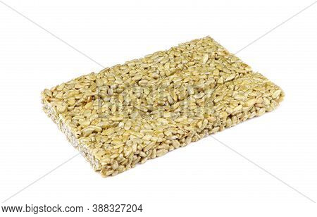 Brittle Candy Isolated On A White Background. Nuts And Honey Bar. Brittles. Kozinaki Isolated. Candy