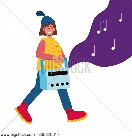 Flat Concept. Podcast Concept. Hipster Girl Listening Radio For Lifestyle Design. Teenager In Bright