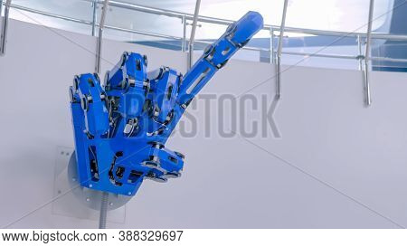 Futuristic Big Blue Mechanical Robotic Hand With Remote Control Moving Fingers And Showing Forefinge