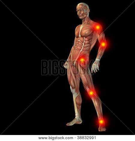 High resolution concept or conceptual 3D human anatomy body with pain isolated on black background as a metaphor to health,medicine,medical,biology,osteoporosis,arthritis,joint,inflammation or ache poster