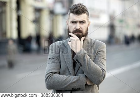 Bearded And Cool. Hipster Appearance. Stylish Beard And Mustache Fall And Winter Season. Beard Fashi