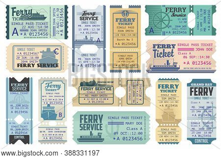 Ferry Tickets For Ocean And Sea Cruise, Vector Vintage Cards For Entry On Marine Vessel. Control Cou